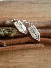 Load image into Gallery viewer, Arrows Rustic Recycled Silver Earrings