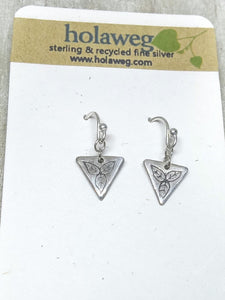 Leaf Triquetra Rustic Recycled Silver Earrings