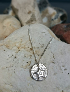 Carved Star Recycled Silver Pendant