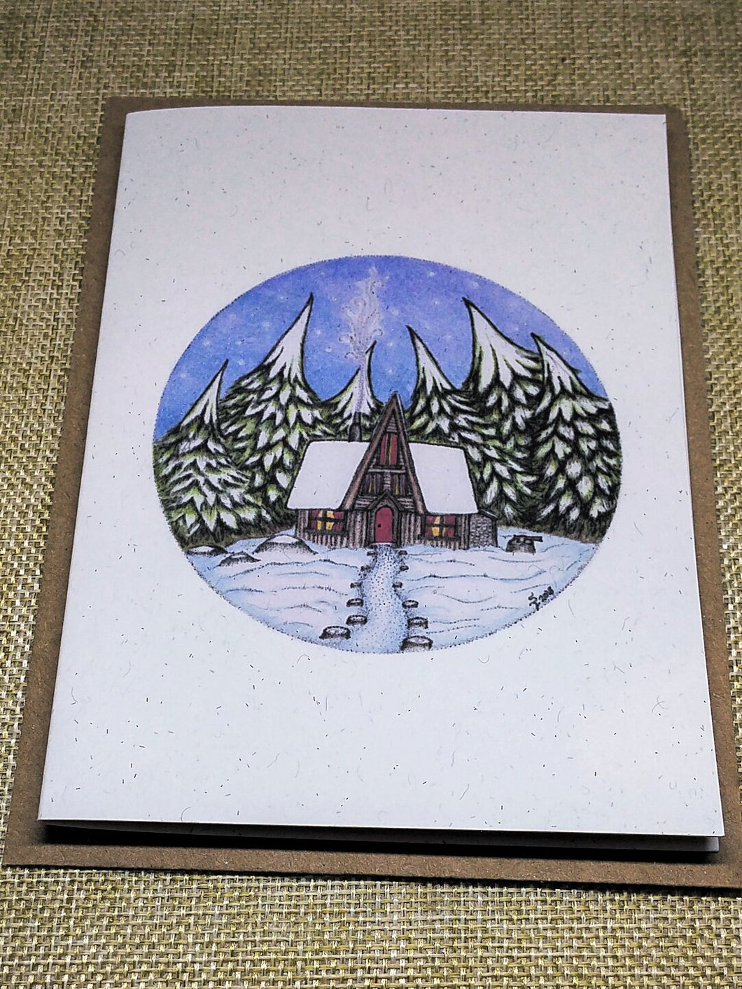 Pinecone Cabin  Eco-Friendly Greetings Card