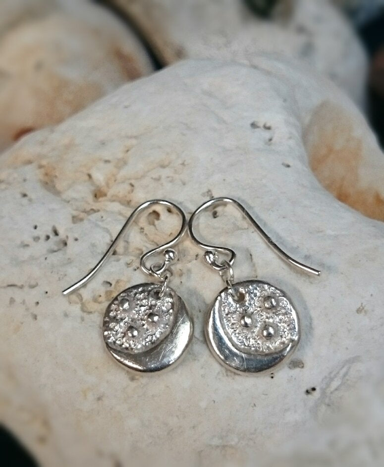 Moon & Stars Recycled Silver Drop Earrings
