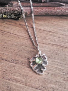 Little Leaf Hammered Recycled Silver & Peridot Pendant