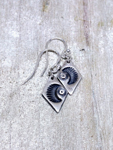 Dark Moon Rustic Recycled Silver Earrings
