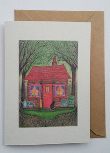 Black Cat Cottage  Eco-Friendly Greetings Card