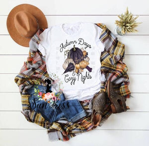 Autumn Days & Cozy Nights Tee - Fall Tee - SKC Boutique