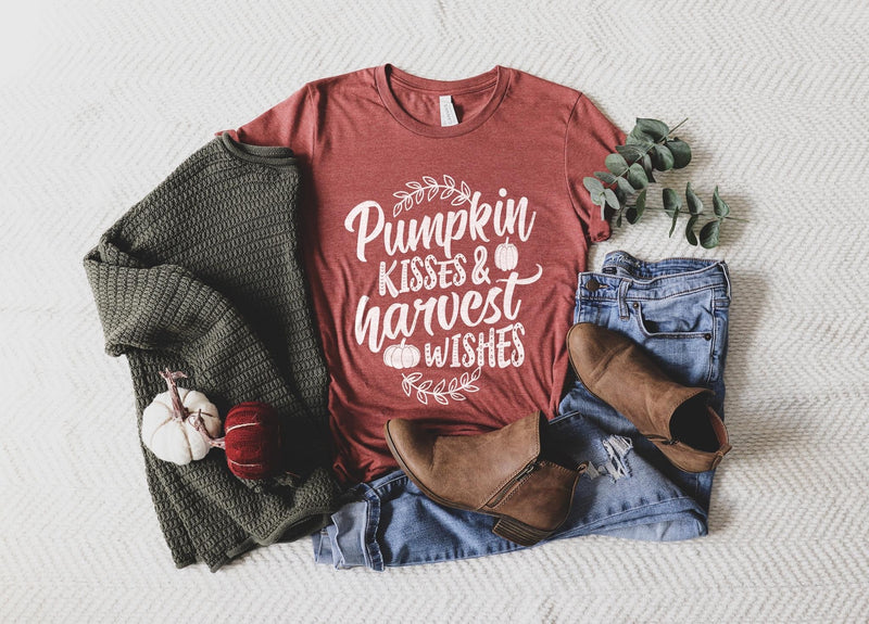Pumpkin Kisses & Harvest Wishes Tee - Fall Tee - SKC Boutique