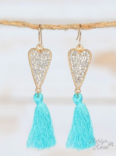 Crystal Heart Earrings with Tassels, Turquoise - SKC Boutique