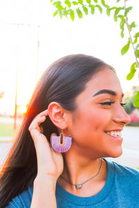 Lavendar Fanned Tassel Earrings - SKC Boutique