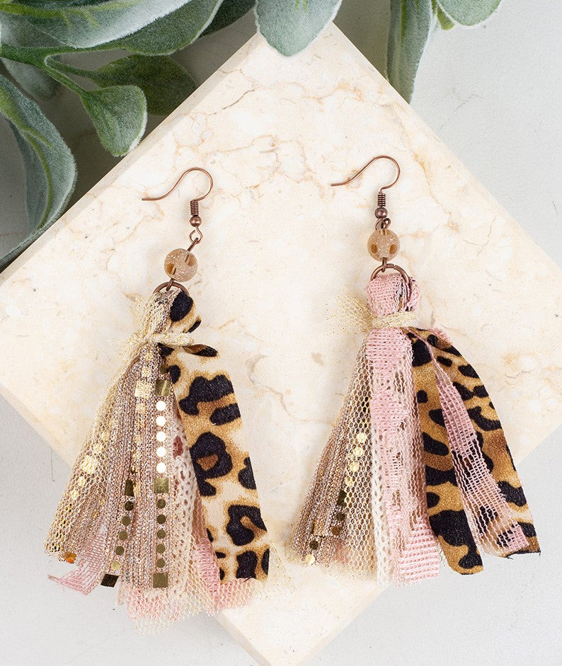 Make Me Blush Beaded Tassel Earrings, Leopard and Light Pink - SKC Boutique
