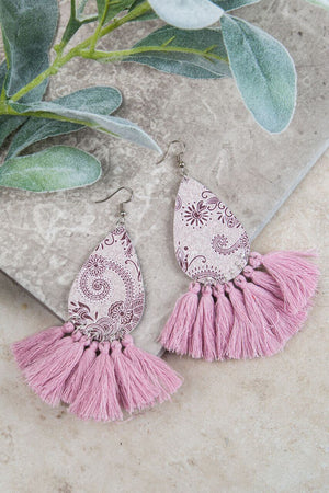 Pretty in Paisley Leather Teardrop Earrings, Lavender - SKC Boutique