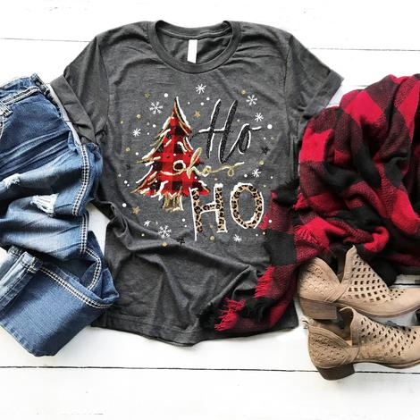 Ho Ho Ho Plaid Leopard Tee - SKC Boutique
