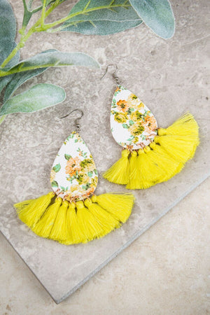 First Day of Spring Floral Earrings, Yellow - SKC Boutique