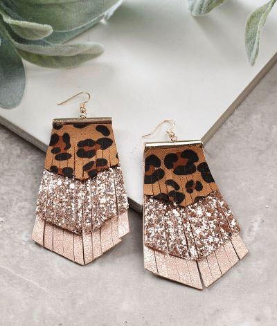 Rose Gold Glitter Fringed Leopard Earrings - SKC Boutique