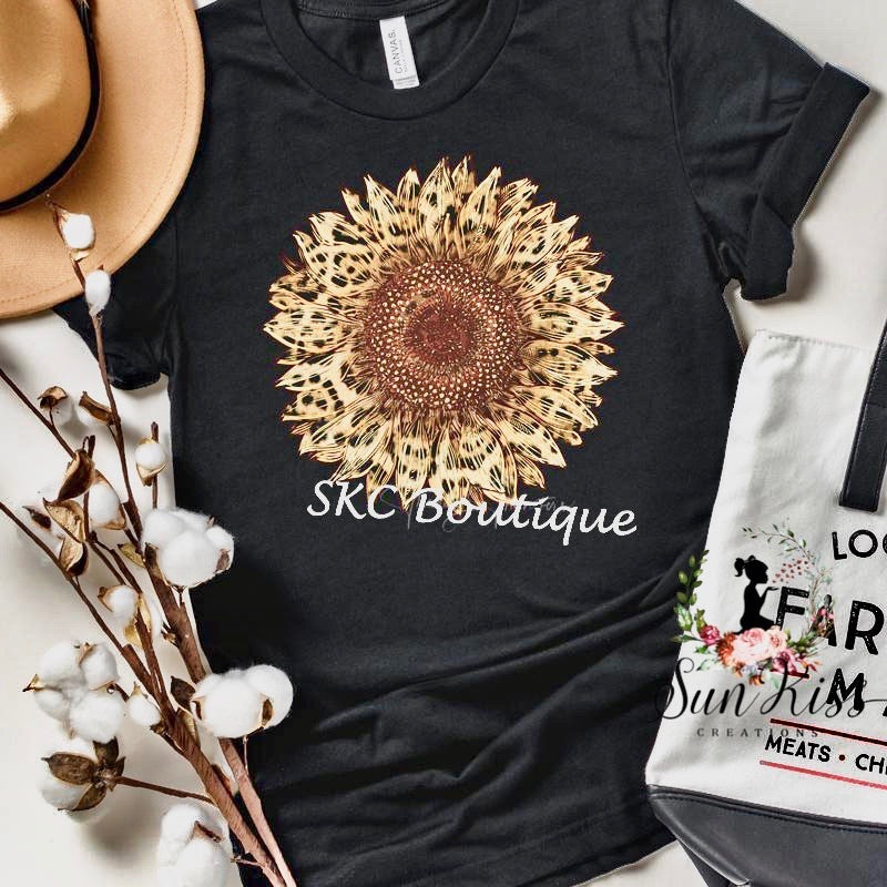 Leopard Sunflower Tee - SKC Boutique