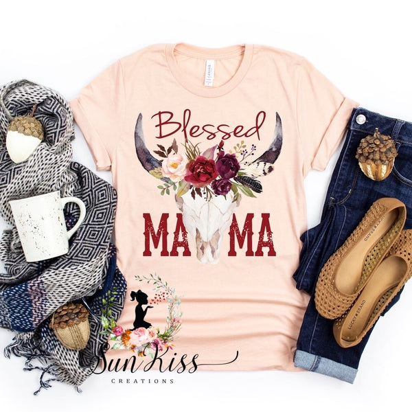 Blessed Mama Skull with Flowers Tee - SKC Boutique