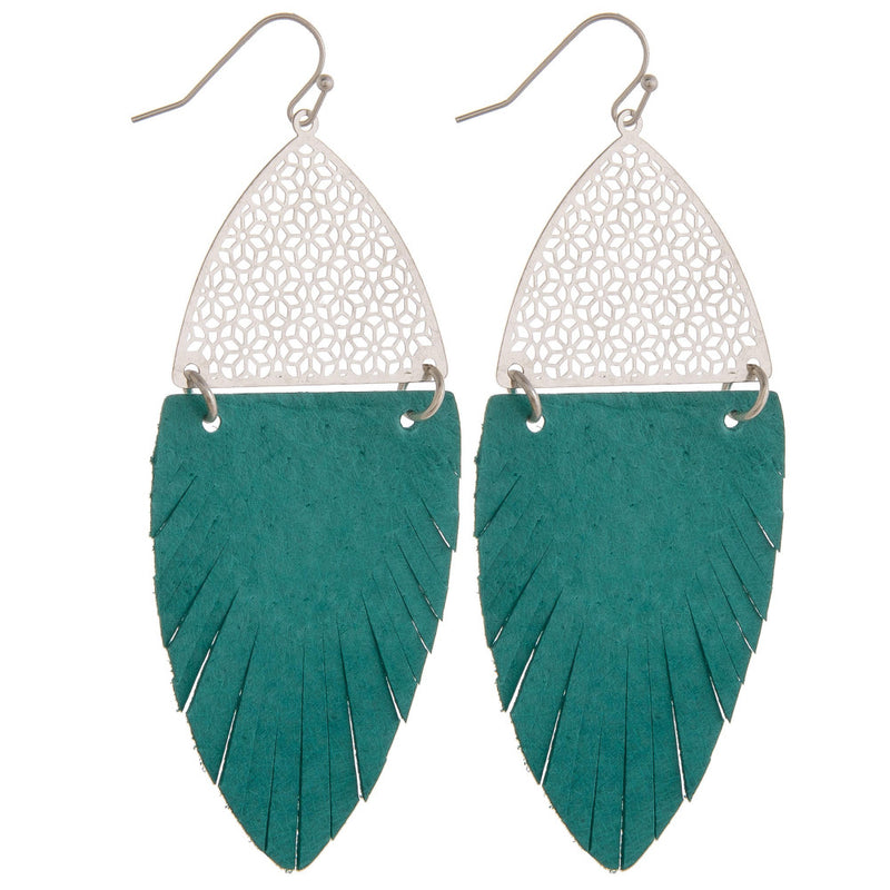 Turquoise Feather-Shaped Earrings - SKC Boutique