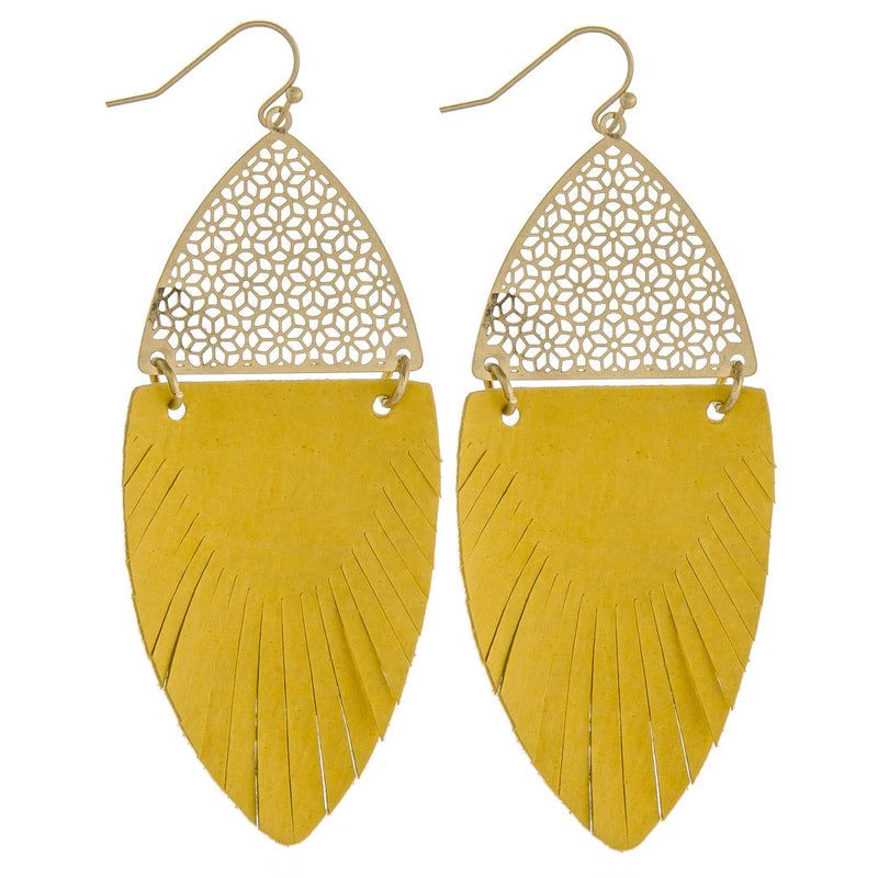 Yellow Feather-Shaped Earrings - SKC Boutique