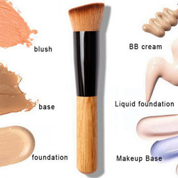Professional Pro Makeup Brushes Powder Concealer Blush Liquid Foundation Make up Brush Set Wooden Kabuki Brush Cosmetics Tool