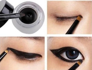 HOT! Waterproof Eye Liner Eyeliner Gel Makeup Cosmetic + Brush Black ONE SET