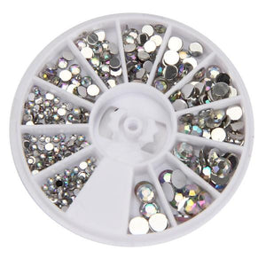 Round 3D Acrylic Nail Art Gems Crystal Rhinestones DIY Decoration Wheel
