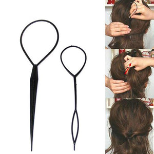 Set of 2 Pcs Fashion Topsy Tail Hair Braid Pony Tail Maker Styling