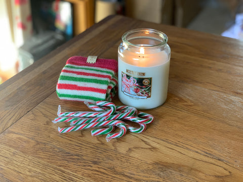 The sock of the month for December was inspired by candy canes