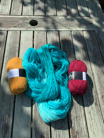 We are buying in some coloured yarn but also dyeing our own with food colouring