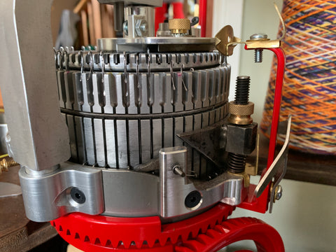 We called our hand-cranked knitting machine Myrtle