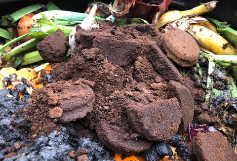 Despite their colour, used coffee grounds count as green matter when it comes to composting.