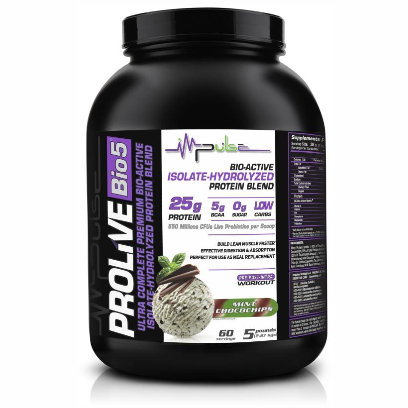 Prolive Bio5 Bioactive Protein, High Purity Whey Protein Powder (Mint Choco Chips Flavor) 5.0 Lbs | The Good Protein