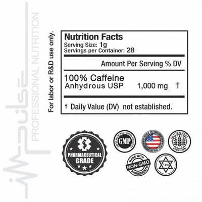 Ultra Pure Caffeine 2.5 OZ. (Pharmaceutical Grade) | The Good Protein