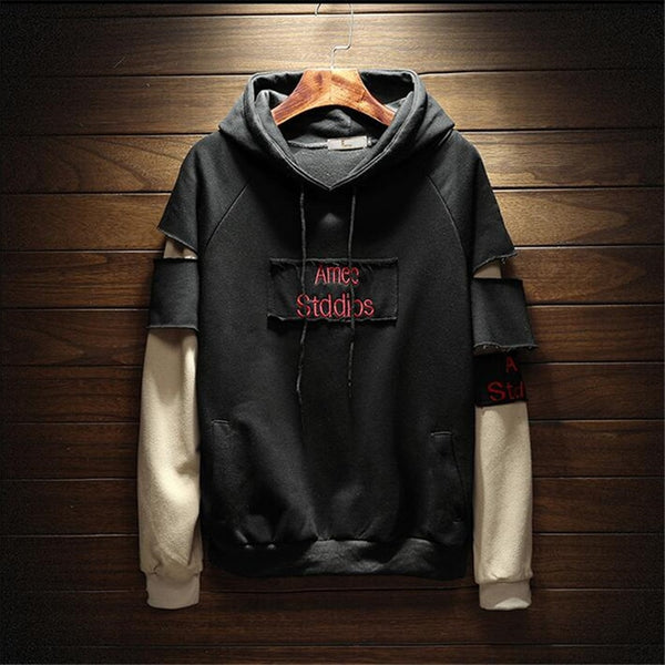LOOSE ROUND NECK STITCHING HOODIE COUPLE SWEATER