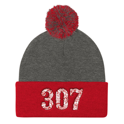 307 Paisley Red Pom Pom Knit Cap