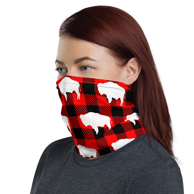 Buffalo Plaid Strapless Facemask