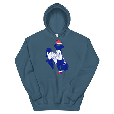 Wyoming Flag Steamboat Hooded Sweatshirt