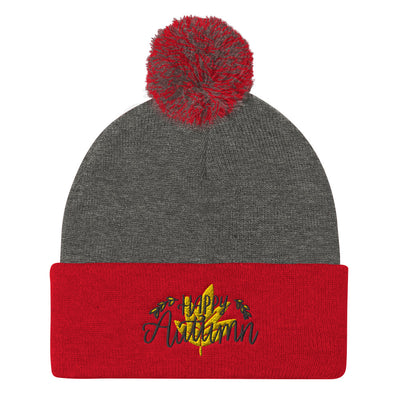 Happy Autumn Pom Pom Knit Cap
