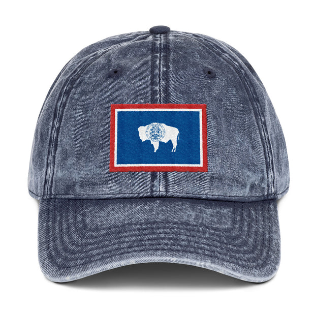 Wyoming State Flag Vintage Cotton Twill Cap
