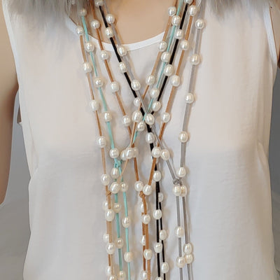 Freshwater Pearl Lariat Necklace in 9 Colors - Beauty In Stone Jewelry