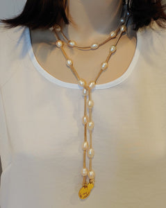 Blush Pearl Lariat Necklace On Suede Leather