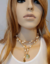 Load image into Gallery viewer, Blush Pearl Lariat Necklace On Suede Leather
