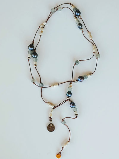 Peacock Pearl Lariat - Beauty In Stone Jewelry