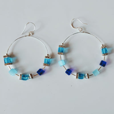 Hoop Earrings Shades of Blue/Cubes & Crystal - Beauty In Stone Jewelry