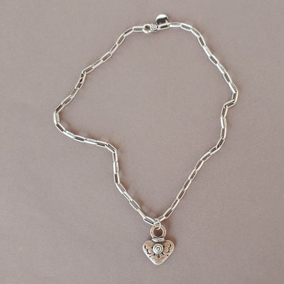 Dramatic Heart Necklace With Matte Oval Link Chain - Beauty In Stone Jewelry