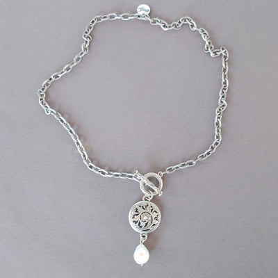 Front Toggle Necklace With Medallion & Pearl Dangle - Beauty In Stone Jewelry