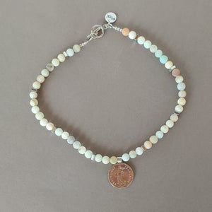 Matte Amazonite Necklace With Coin