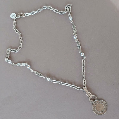 Decorated Link & French Coin Chain Necklace - Beauty In Stone Jewelry