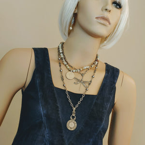 Decorated Link & French Coin Chain Necklace