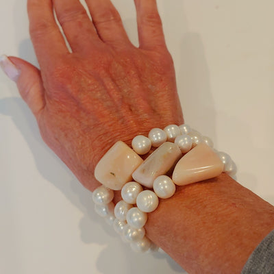 Pink Peruvian Opal & Pearl Stretch Bracelet Choice - Beauty In Stone Jewelry