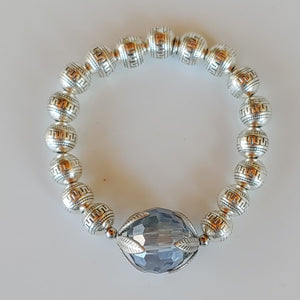 Blue Crystal Ball Beaded Bracelet