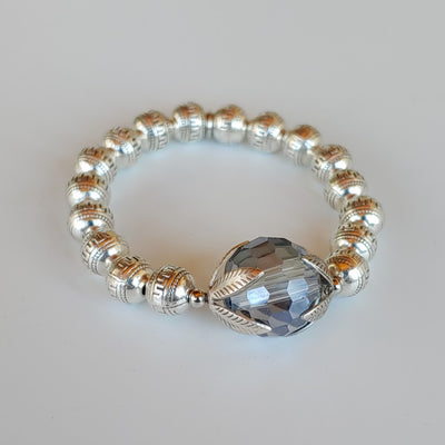 Blue Crystal Ball Beaded Bracelet - Beauty In Stone Jewelry